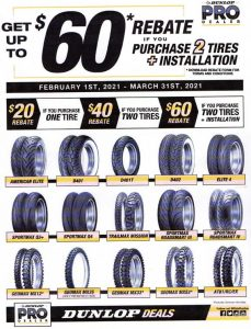 dunlop tire rebate march 2021